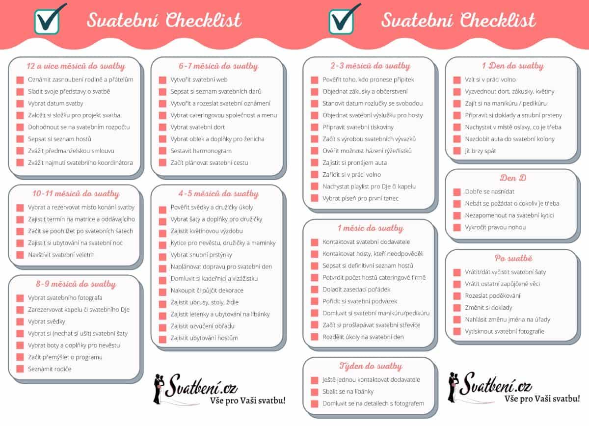 Svatební checklist - co zařídit před svatbou